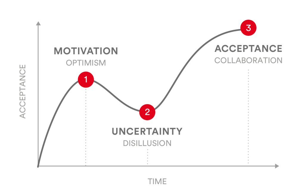 PMCC-A typical hype cycle of a PMO introduction project